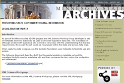 screencap of the Minnesota State Archives website